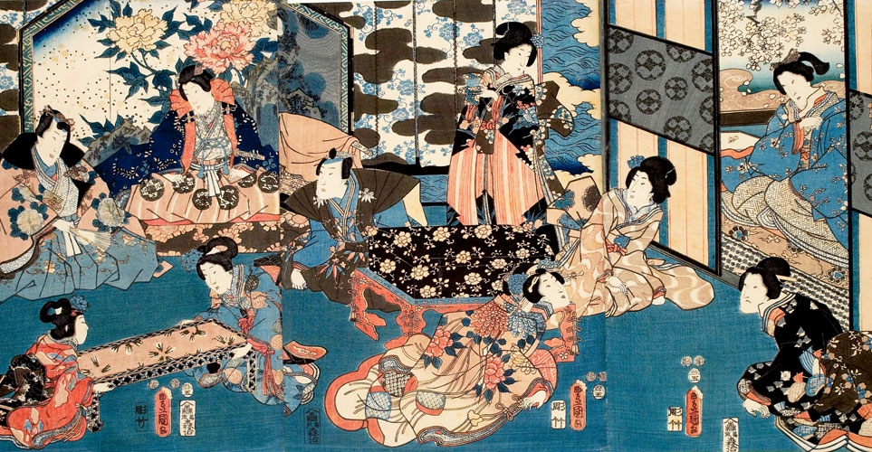 Depictions of these courtesans by Kitao Masanobu (1761–1816, aka Santō Kyōden) emphasize the women's academic training and intellectual lives of women in the Yoshiwara district.